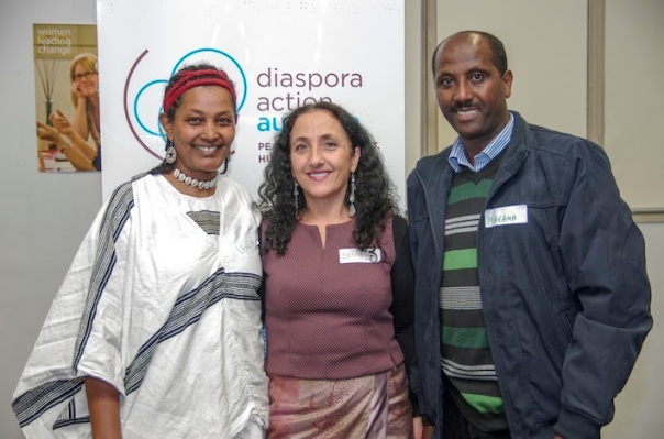 Lensa Dinka, DAA Director Denise Cauchi and Marama Kufi from Oromia Support Group Australia at the DAA Friends Event.