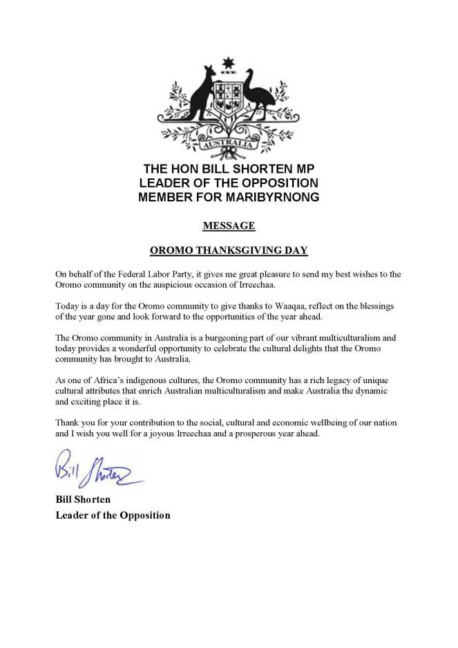 151001 MESSAGE FROM BILL SHORTEN - OROMO THANKSGIVING DAY