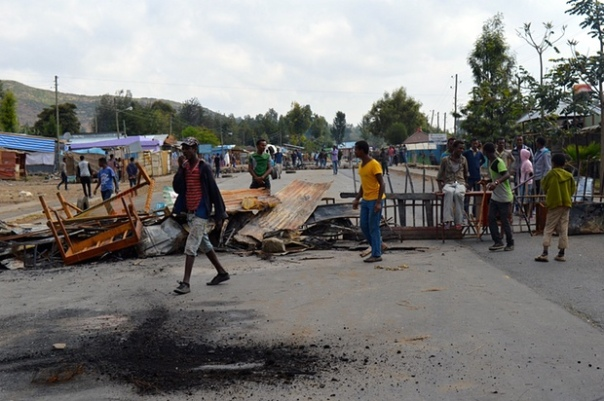 Protesters block a road in Wolenkomi. Photograph: William Davison